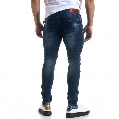 Slim fit ανδρικό μπλε τζιν με ςταγόνες χρωμά tr110320-109 3