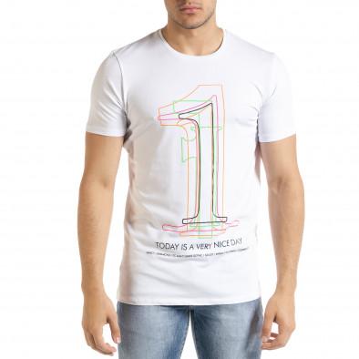 Ανδρική λευκή κοντομάνικη μπλούζα Lagos tr080520-17 2