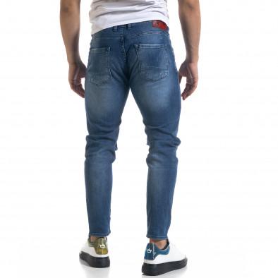 Slim fit ανδρικό μπλε τζιν με ςταγόνες χρωμά tr110320-110 3