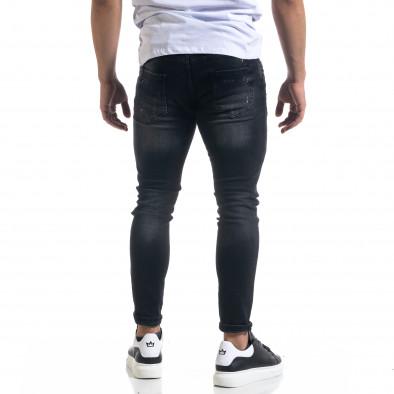 Slim fit ανδρικό μαύρο τζιν με ςταγόνες χρωμά tr110320-108 3