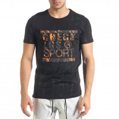 Ανδρική μαύρη κοντομάνικη μπλούζα Lagos tr080520-18 2