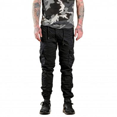 Ανδρικό μαύρο παντελόνι cargo Blackzi tr170320-2 3