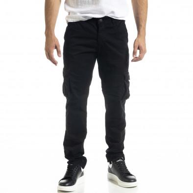 Ανδρικό μαύρο Cargo παντελόνι σε ίσια γραμμή tr240420-27 2