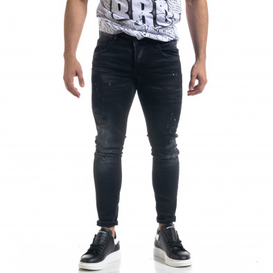 Slim fit ανδρικό μαύρο τζιν με ςταγόνες χρωμά tr110320-108 2