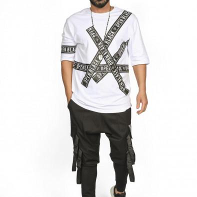 Ανδρική λευκή κοντομάνικη μπλούζα Open tr110320-65 2