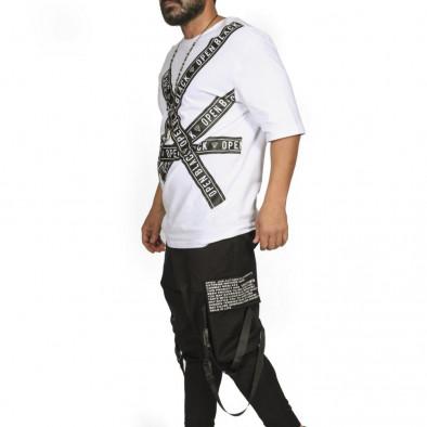 Ανδρική λευκή κοντομάνικη μπλούζα Open tr110320-65 3