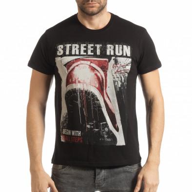 Ανδρική μαύρη κοντομάνικη μπλούζα Street Run tsf190219-83 2