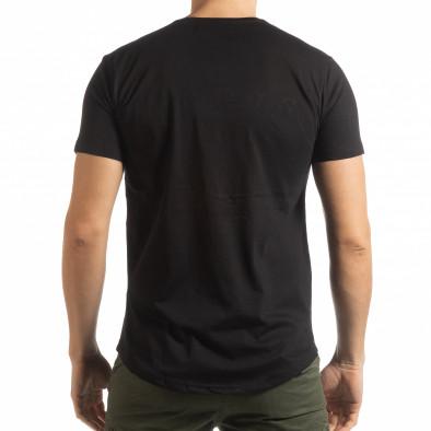 Ανδρική μαύρη κοντομάνικη μπλούζα με πριντ tsf190219-13 3