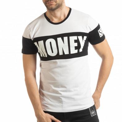 Ανδρική λευκή κοντομάνικη μπλούζα Money tsf190219-41 2