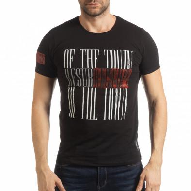 Ανδρική μαύρη κοντομάνικη μπλούζα Resurrection tsf190219-52 2