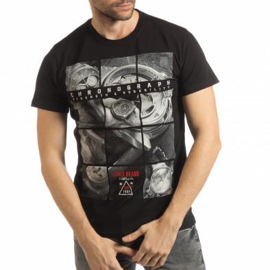 Ανδρική μαύρη κοντομάνικη μπλούζα Chronograph tsf190219-76 2