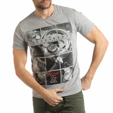 Ανδρική γκρι κοντομάνικη μπλούζα Chronograph tsf190219-77 2
