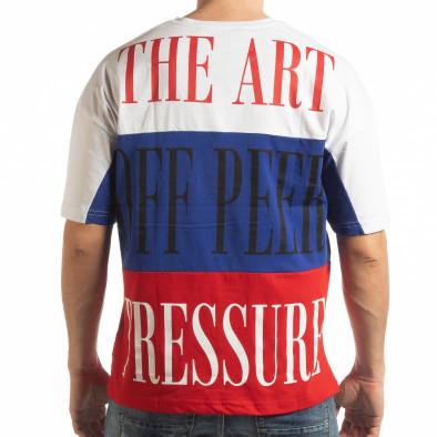 Ανδρική πολύχρωμη κοντομάνικη μπλούζα με λευκό, μπλε, κόκκινο χρώμα tsf190219-28 3