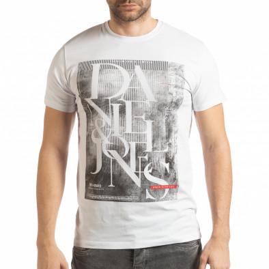 Ανδρική λευκή κοντομάνικη μπλούζα Denim Company tsf190219-85 2