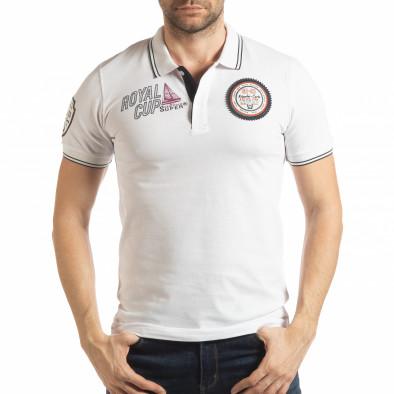 Ανδρική λευκή κοντομάνικη polo shirt Royal cup tsf190219-91 2
