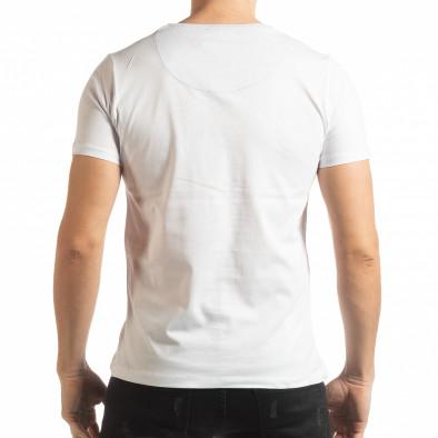 Ανδρική λευκή κοντομάνικη μπλούζα σε στυλ Patchwork tsf190219-57 3