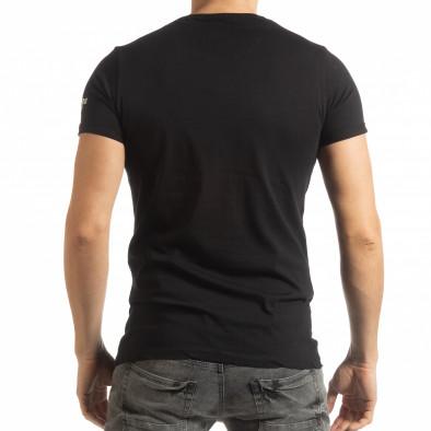Ανδρική μαύρη κοντομάνικη μπλούζα με πριντ tsf190219-2 3