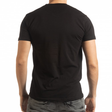 Ανδρική μαύρη κοντομάνικη μπλούζα με πριντ tsf190219-70 3
