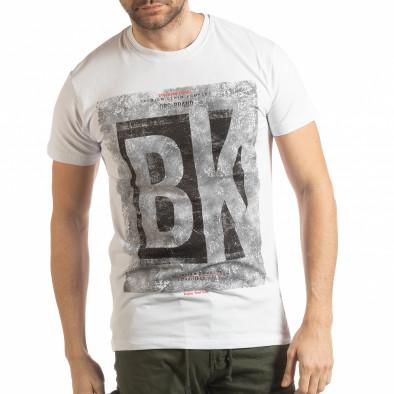 Ανδρική λευκή κοντομάνικη μπλούζα BK tsf190219-73 2