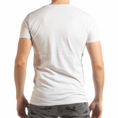 Ανδρική λευκή κοντομάνικη μπλούζα με πριντ Lagos Style  tsf190219-55 3