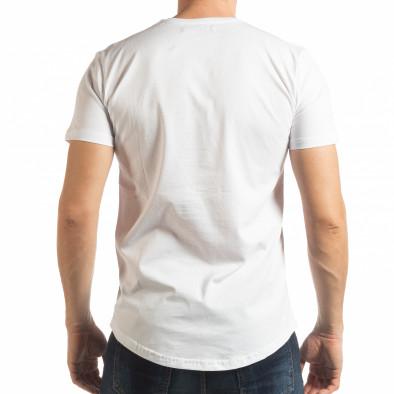 Ανδρική λευκή κοντομάνικη μπλούζα με πριντ tsf190219-21 3