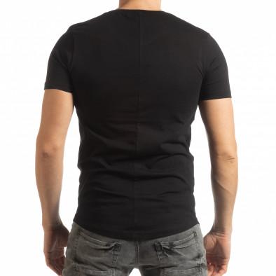 Basic ανδρική μαύρη κοντομάνικη μπλούζα  tsf190219-49 3
