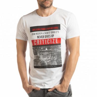 Ανδρική λευκή κοντομάνικη μπλούζα Criticize tsf190219-63 2