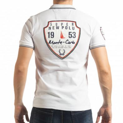 Ανδρική λευκή κοντομάνικη polo shirt Royal cup tsf190219-91 3