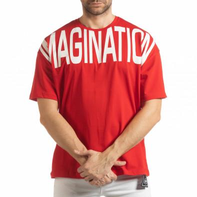 Ανδρική κόκκινη κοντομάνικη μπλούζα Imagination tsf190219-31 2