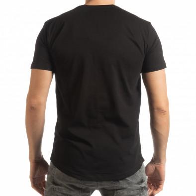 Ανδρική μαύρη κοντομάνικη μπλούζα με νεκροκεφαλή tsf190219-22 3