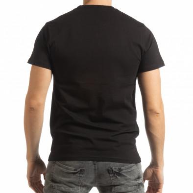 Ανδρική μαύρη κοντομάνικη μπλούζα Chronograph tsf190219-76 3