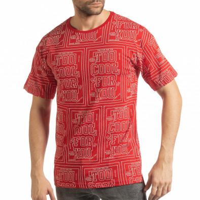 Ανδρική κόκκινη κοντομάνικη μπλούζα   tsf190219-27 2