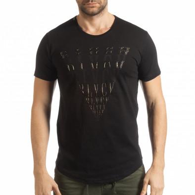 Ανδρική μαύρη κοντομάνικη μπλούζα με πριντ tsf190219-13 2