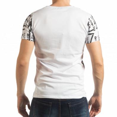 Ανδρική λευκή κοντομάνικη μπλούζα με επιγραφές tsf190219-12 3