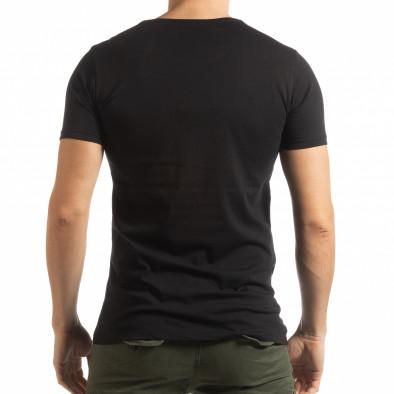 Ανδρική μαύρη κοντομάνικη μπλούζα με πριντ Lagos Style  tsf190219-54 3