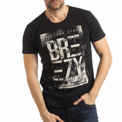 Ανδρική μαύρη κοντομάνικη μπλούζα με πριντ tsf190219-20 2