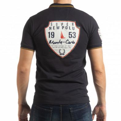 Ανδρική σκούρα μπλε κοντομανική polo shirt Royal cup  tsf190219-89 3
