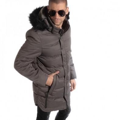 Ανδρικό γκρι χειμωνιάτικο μπουφάν μακρύ μοντέλο it261018-124 2 ... 7d075e2eeff