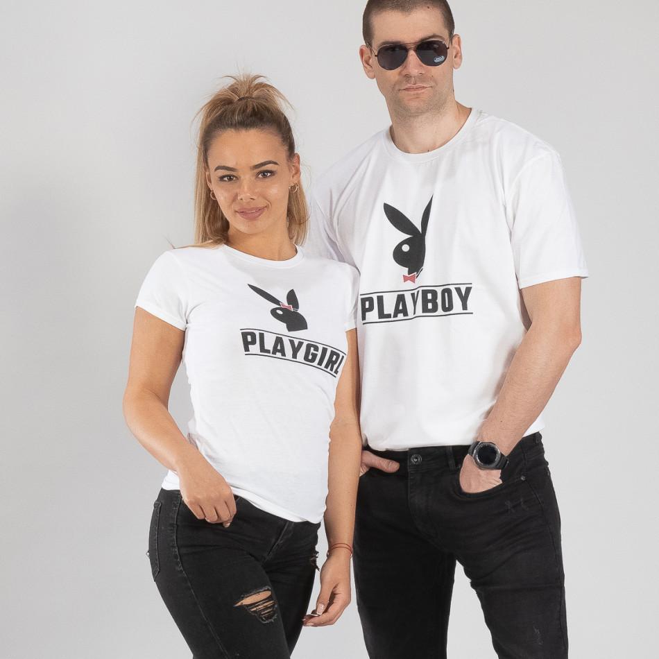 Μπλουζες για ζευγάρια Playboy λευκό TMN-CP-250