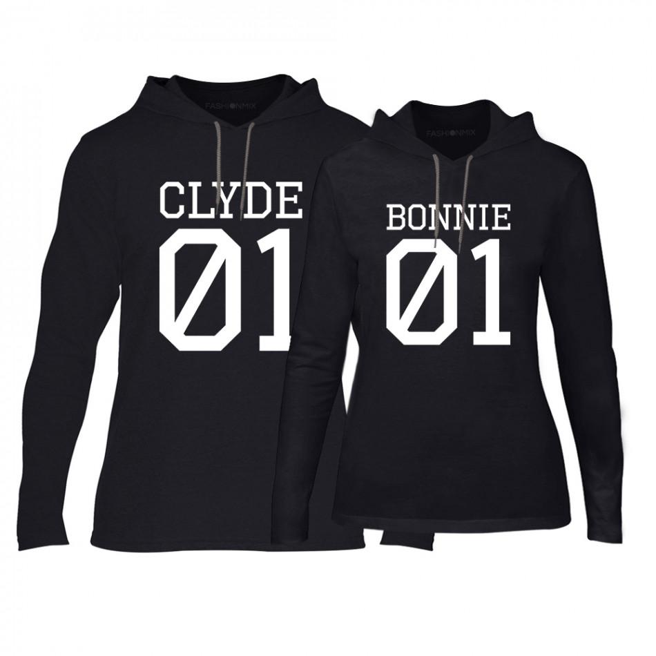 Φούτερ για ζευγάρια Bonnie 01 & Clyde 01 μαύρο TMN-CPS-025