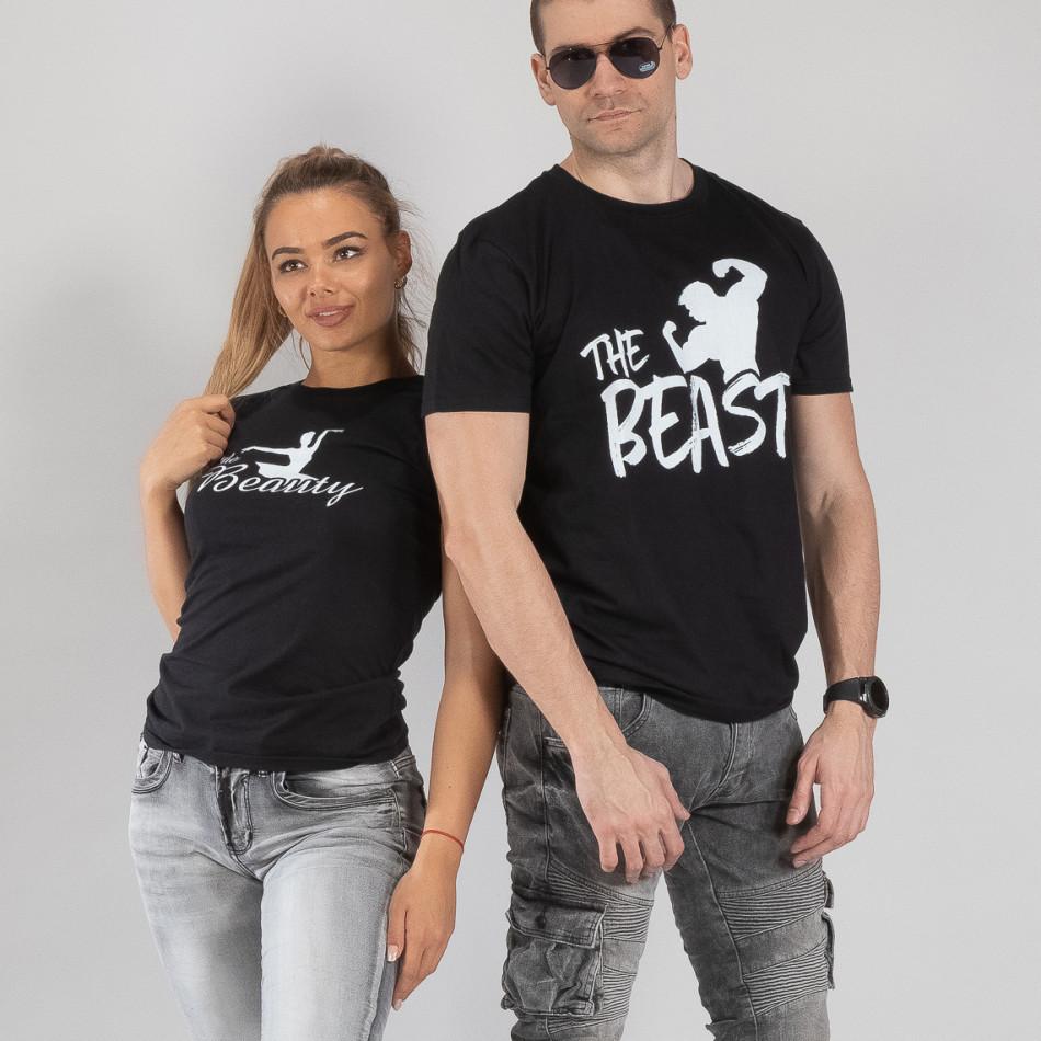 Μπλουζες για ζευγάρια Beauty & Beast μαύρο TMN-CP-010