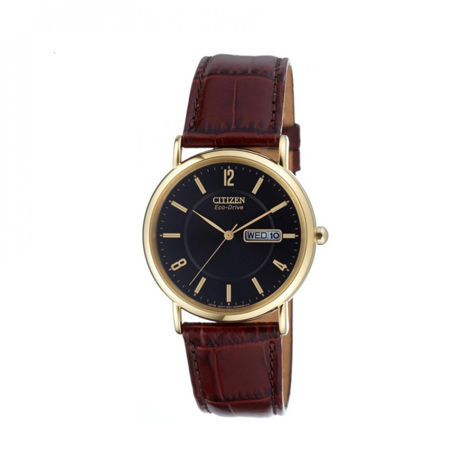 Ανδρικό ρολόι Citizen Eco-Drive Leather Black Gold Tone  BM8243 05E