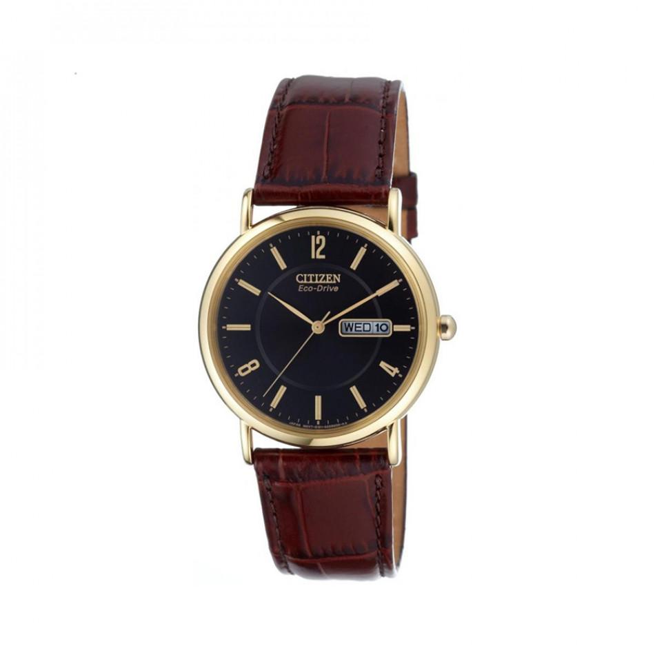 Ανδρικό ρολόι Citizen Eco-Drive Leather Black Gold Tone  BM8243 05E