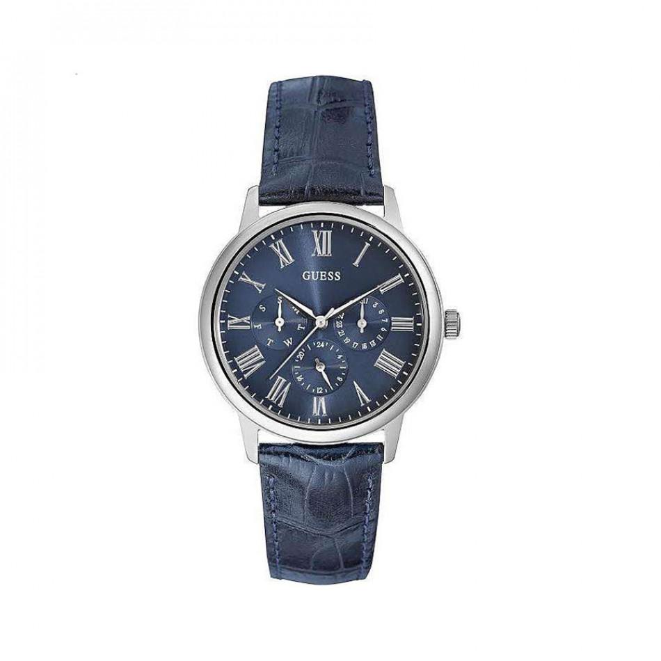Ανδρικό ρολόι Guess Wafer Blue Dial Blue Leather Strap W0496G3 W0496G3