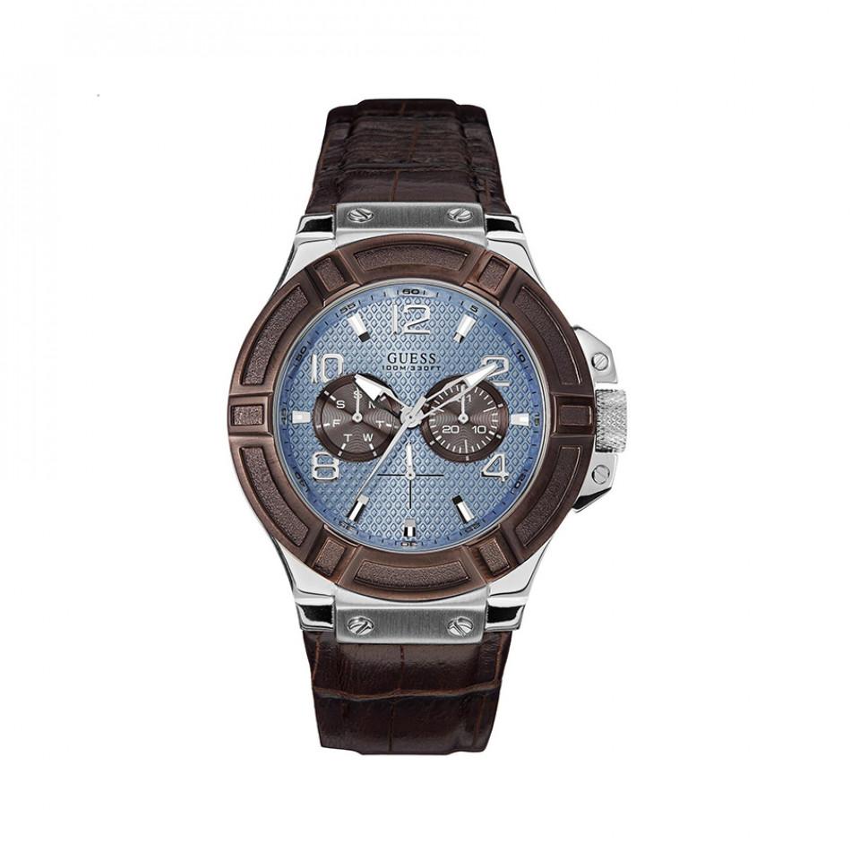 Ανδρικό ρολόι Guess Rigo Blue Dial Brown Leather Band W0040G10 W0040G10