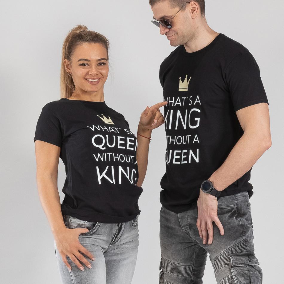 Μπλουζες για ζευγάρια What Is King μαύρο TMN-CP-257