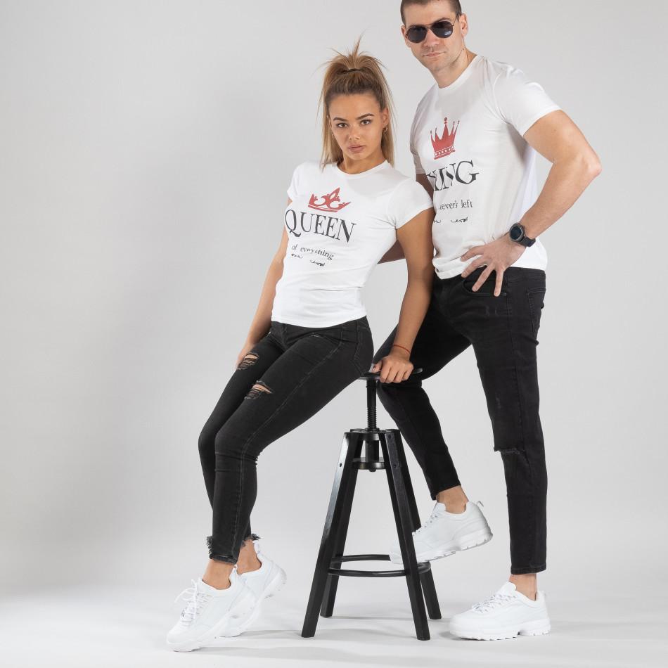 Μπλουζες για ζευγάρια King Queen λευκό TMN-CP-113