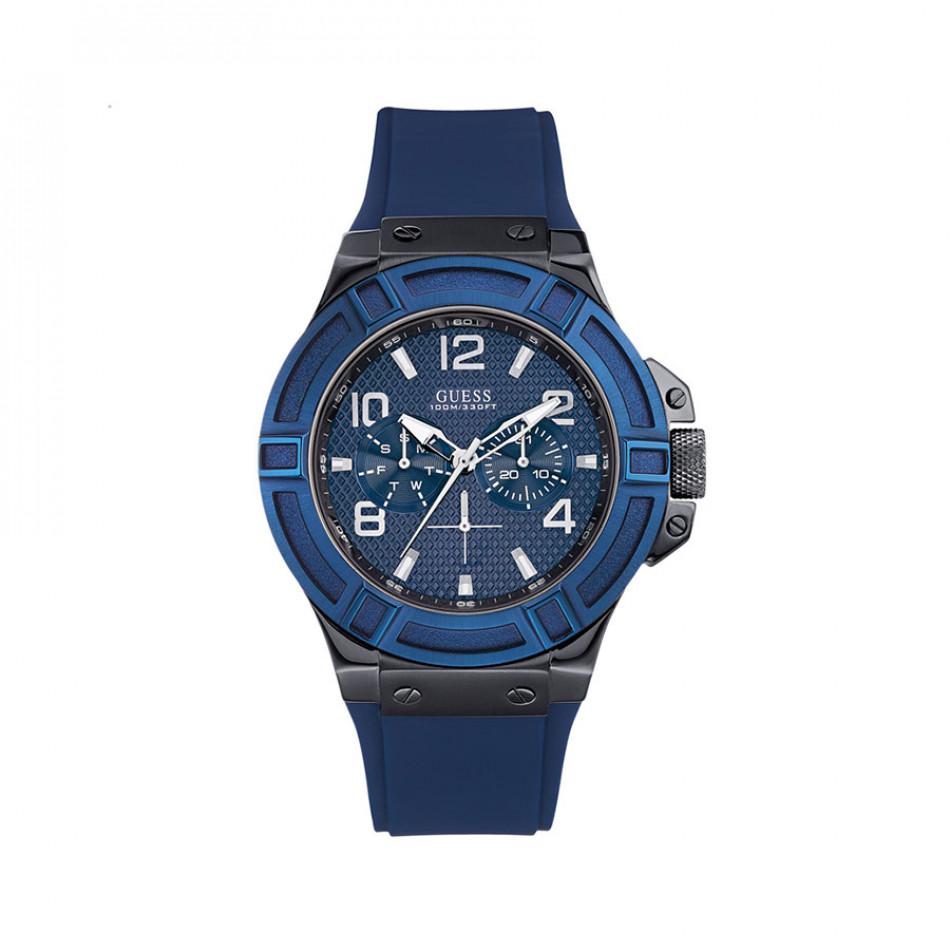 Ανδρικό ρολόι Guess Rigor Blue Dial Blue Silicon Strap W0248G5 W0248G5