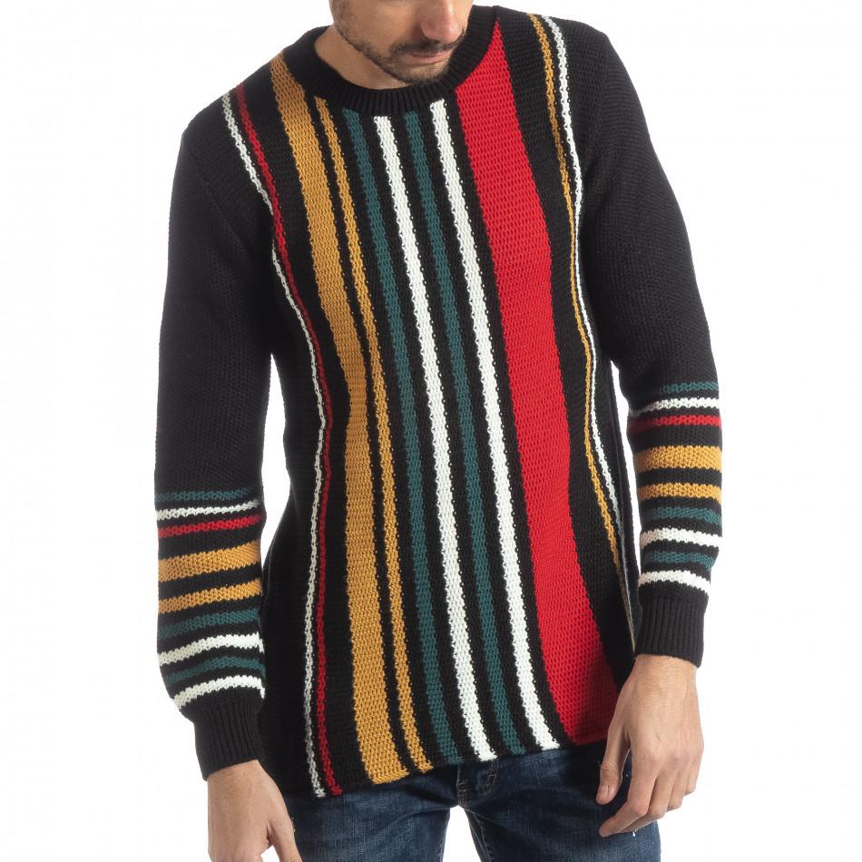 Ανδρικό μαύρο πουλόβερ με πολύχρωμο ριγέ it051218-57