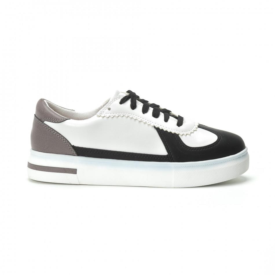 Γυναικεία λευκά sneakers με μαύρες- μπεζ λεπτομέρειες it250119-44